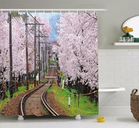 High Quality Arts Shower Curtains Railroad With Japanese Sakura Trees Cherry Blossoms Spring Season Bathroom Decorative Modern