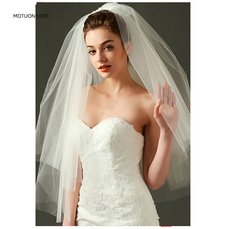 Womens Short Veils Tulle Two Layers White Ivory Elbow Length Bridal Veils For Wedding Bridal Accessories Voile Mariage Court