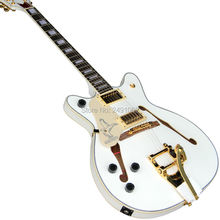 High quality custom electric guitar es335 white backhand left F hole free delivery