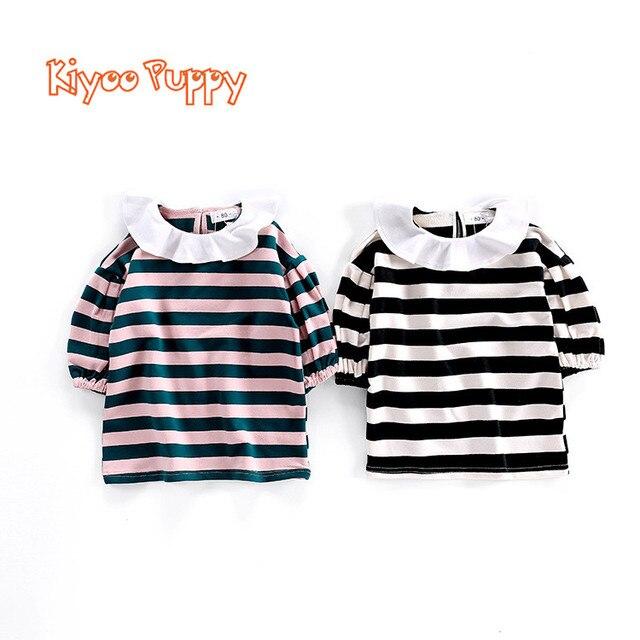 c216c33034a6 Baby Girl Dress Girl Ruffles Collar Striped Dress Baby Girl Clothes ...
