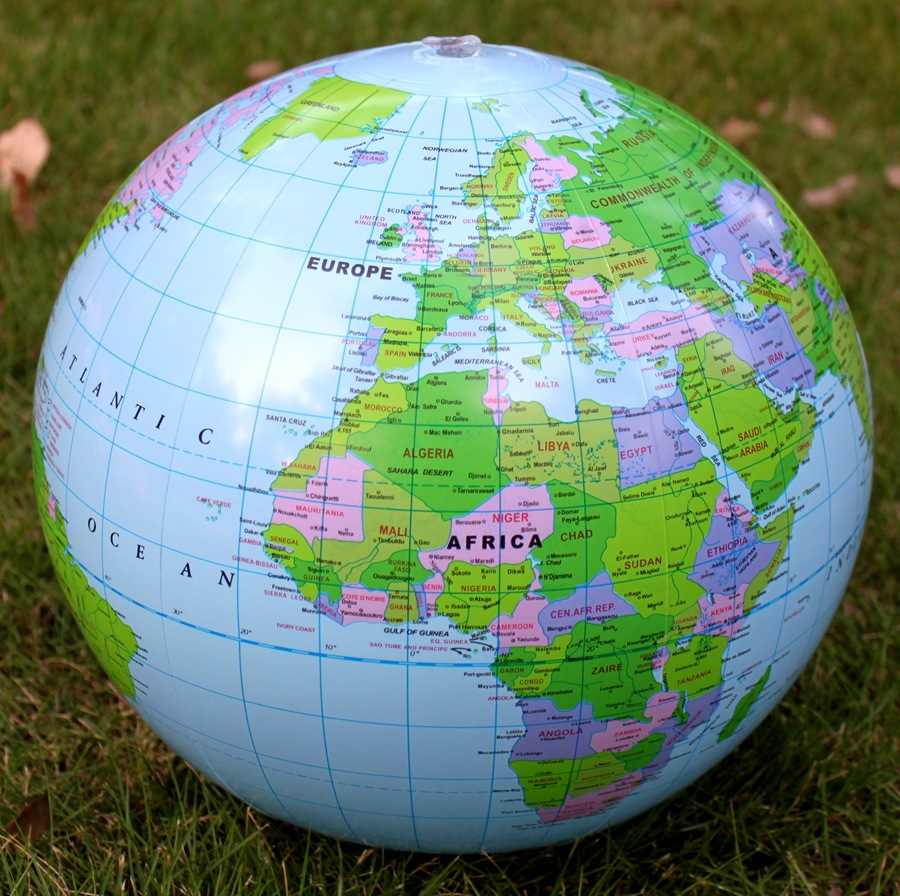 40CM 14 Inflatable World Globe PVC Teach Education Geography World Map For Chlidren Learning Balloon Beach Ball Toy Gifts
