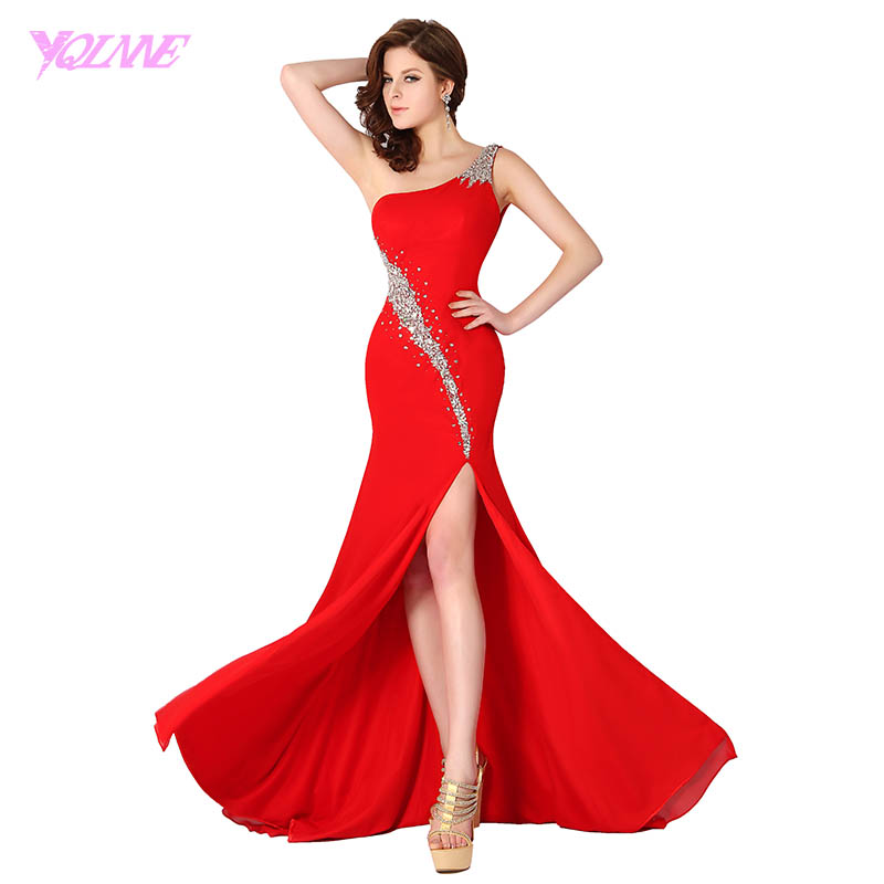 YQLNNE 2018 Red Mermaid Long Prom Dresses One Shoulder Crystals Beading Chiffon Slit Party Dress