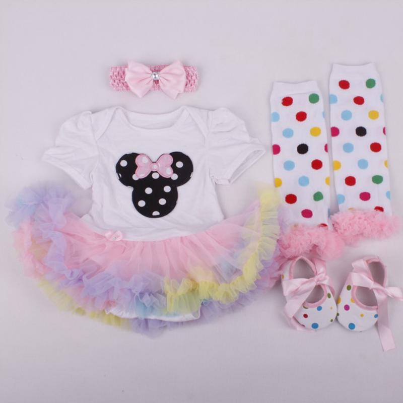 Childhood Fantasy Minnie Infant Dress Romper Lace Tutu Summer 4pcs Toddler Girl Clothing Sets Baby Girl Clothes Infant-Clothing new baby girl clothing sets infant easter romper tutu dress 2pcs set black girls rompers first birthday costumes festival sets