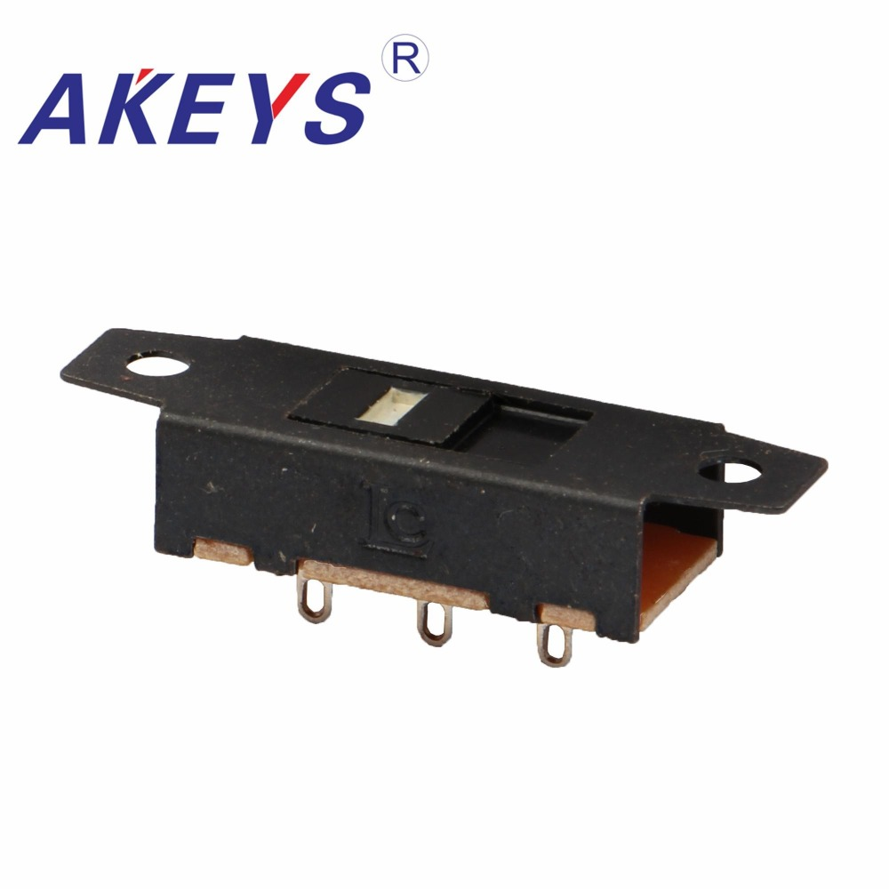10PCS SS-12J01 1P2T Single pole double throw 2 Position shankless slide switch 3 pin verticle type with holes