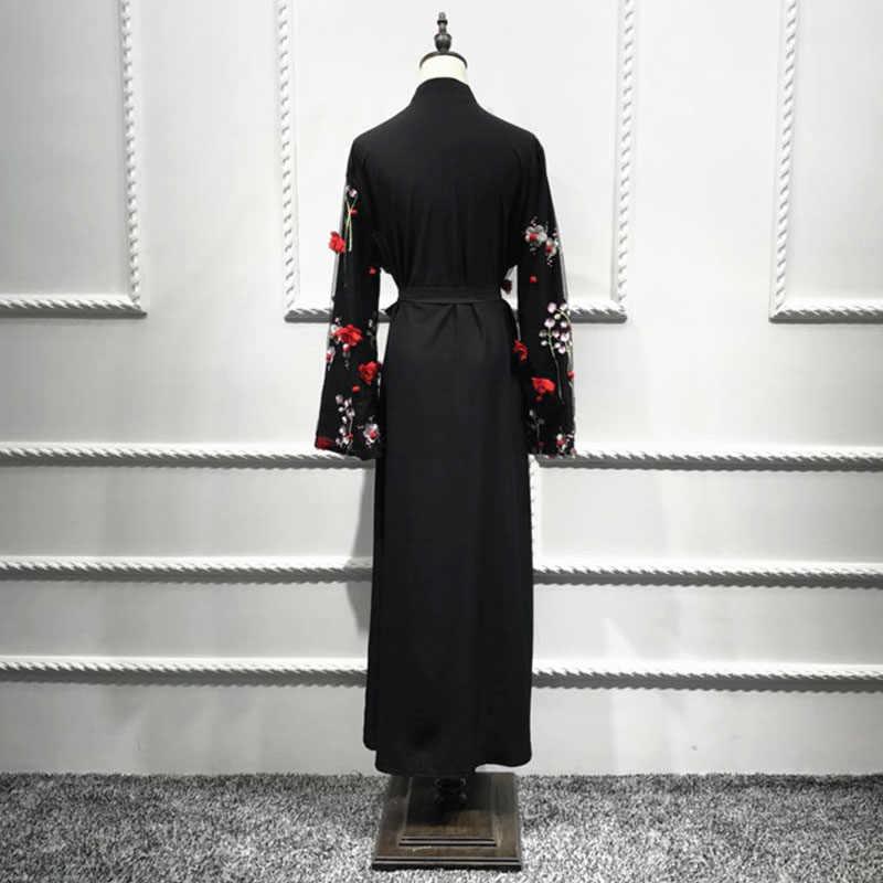 이슬람 Abaya 두바이 터키어 카타르 긴 꽃 기모노 카디건 Hijab 드레스 Jilbab 가운 Musulmane Abayas 여성 이슬람 의류