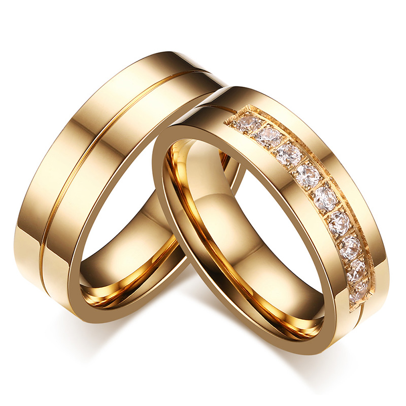 AAA+ Cubic Zirconia Couple Ring Gold Color Ring for Women Man Titanium Lover Ring Stainless Steel Wedding Band Utr8015