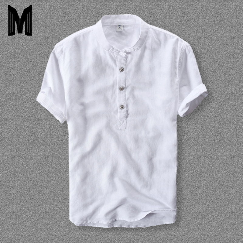 Mens Shirts Fashion 2019 Summer Short Sleeve Slim Cotton Linen Loose Shirts Male White Color Casual Shirts Plus Size Tops Y001