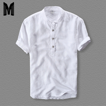 Mens Shirts Fashion 2019 Summer Short Sleeve Slim Cotton Linen Loose Male White Color Casual Plus Size Tops Y001
