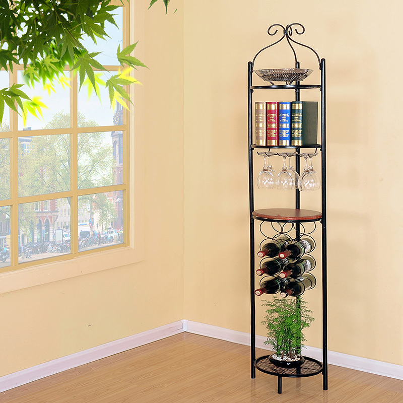 Wrought Iron Storage Shelf Bookcase Wine Bottle Rack Umbrella Stand Jiaojia Corner In Swivel Plates From Home Improvement On