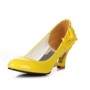 Yardas Primavera 2015 rojo amarillo Tacón Dulce Alto Nueva Coreana Versión Boca Otoño La Grandes Y Baja Pendiente Zapatos Con Negro Charol De Arco blanco qrrIH1w