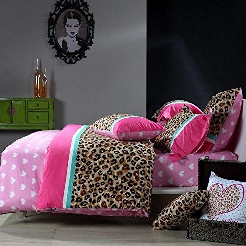 FADFAY Home Textile 100% Cotton Luxury Leopard Print Bedding Set Pink Blue Duvet Cover Set Full Queen Size 4pcs