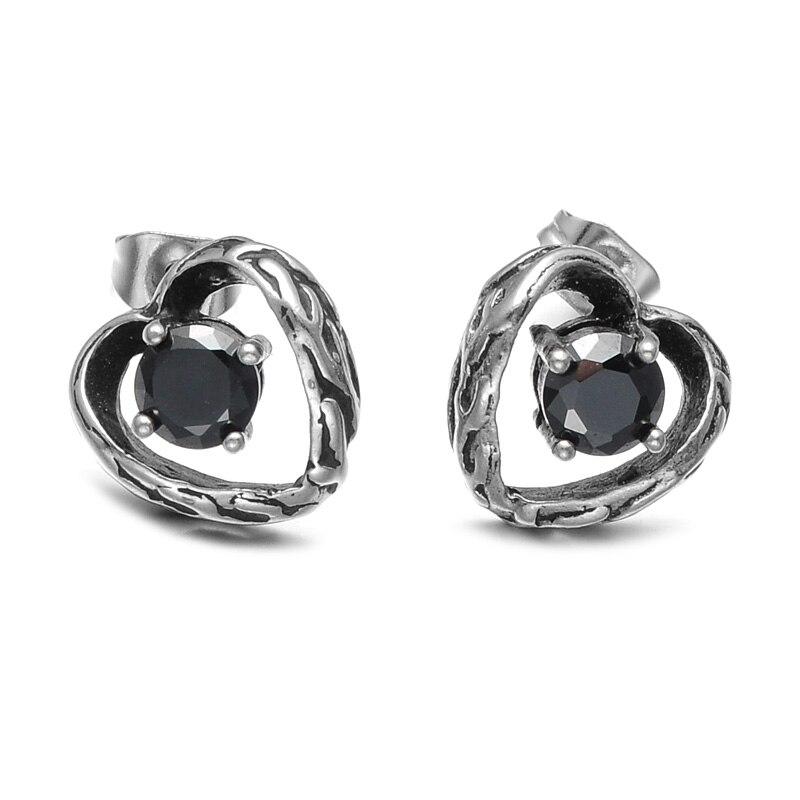 US7 1 Pair Punk Vintage Mens Earrings 316L Stainless Steel Black Crystal Heart Stud Earrings For Men Jewelry