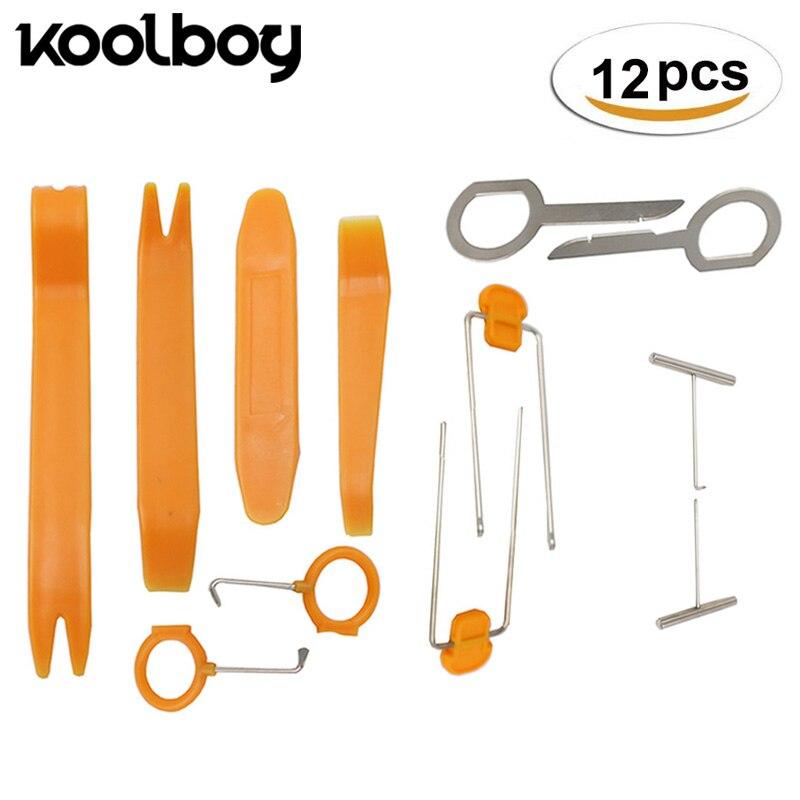 цена на Koolboy 12Pcs/Set Car Panel Removal Tools DVD Stereo Refit Kits Plastic Trim Panel Removal Repair Tools