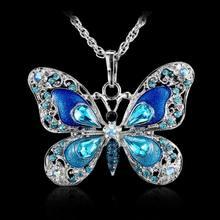 Beautiful Rhinestone Butterfly Long Necklaces Sweater Necklace Fashion Necklace For Women Necklace Pendants SilverJewelry Enamel