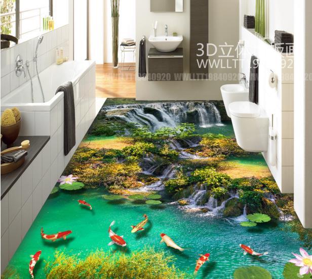 ФОТО Vinyl flooring custom 3d floor sticker waterproof weae non-slip self-adhesive 3d floor for kitchen