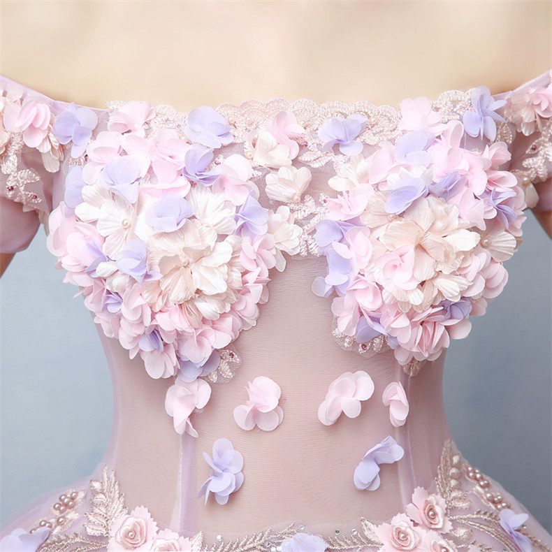 Walk Beside You Lilac Pink Quinceanera Dresses Off Shoulder vestidos de 15 anos debutante Ball Gown Flowers quince anos 2019