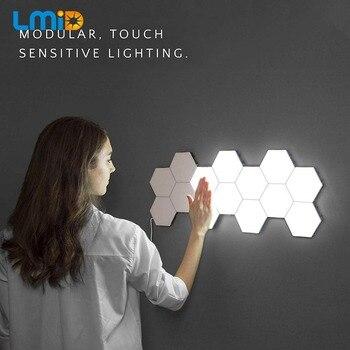 مصباح الكم إضاءة حساسة تعمل باللمس مصابيح ليلية سداسية مغناطيسية للزينة الإبداعية lampara للمطاعم الزواج