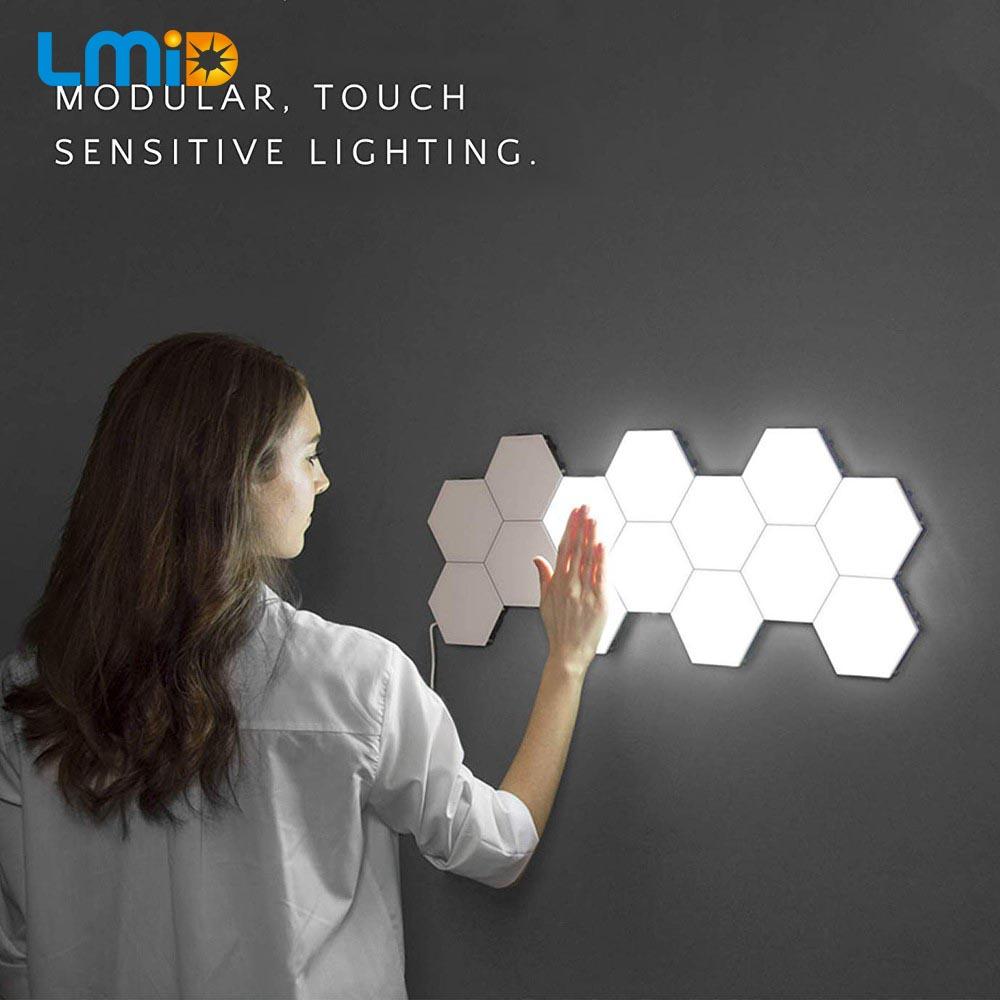 DIY квантовый светильник сенсорный датчик ночной Светильник модульный шестиугольный светодиодный магнитный светильник s настенный светиль...
