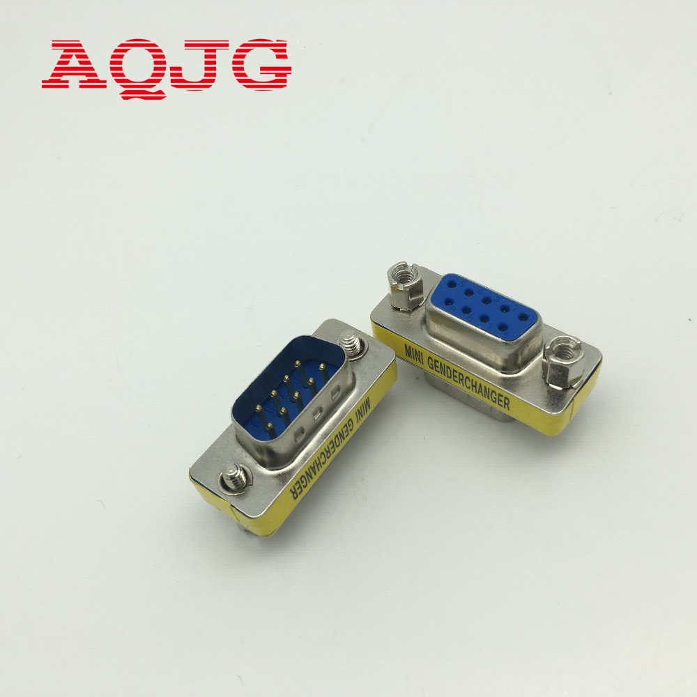 2pcs RS232 Gender Changer DB9 9pin Female To Male VGA Gender Changer Adapter Male To Female Wholesale 9pin AQJG