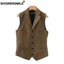 SHOWERSMILE Suit Vest Men Wool Tweed British Style Waistcoat Brown Classic Slim Fit Herringbone Sleeveless Jacket Plus Size 4XL