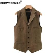 SHOWERSMILE Suit Vest Men Wool Tweed British Style Waistcoat Brown Classic Slim