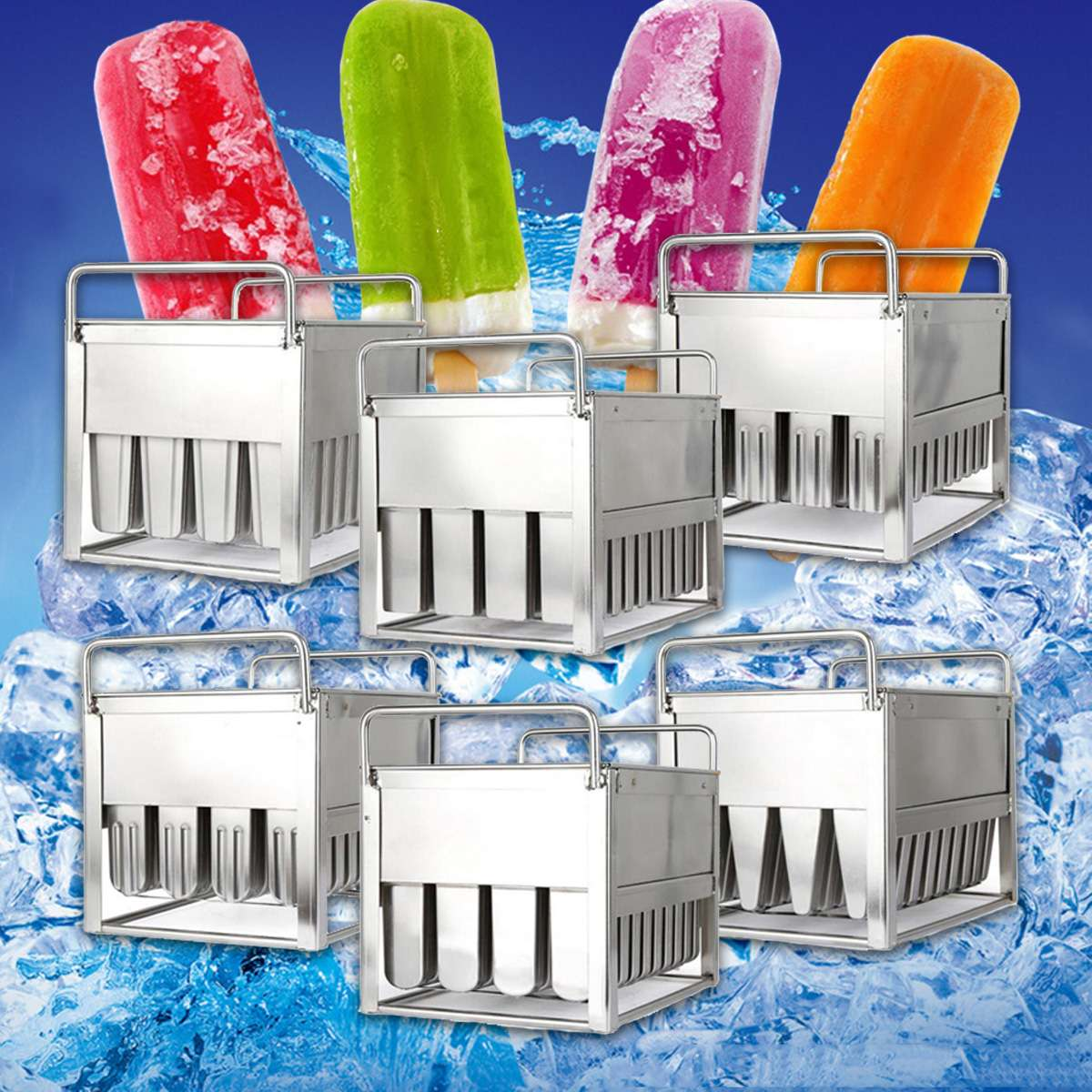6 Style Stainless Steel Frozens 40pcs Ice Lolly Popsicle Molds Ice Cream Stick Holder Summer Home DIY Cream Round Flat Mould
