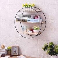 Retro Wood Iron Craft Bookcase Wall Shelf Rack Book DVD Storage Home DIY Decor