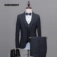 Aimenwant Мужской строгий костюм для свадьбы(пиджак+ брюки+ жилет) однобортный Тонкий серый клетчатый деловые костюмы