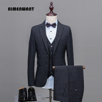 AIMENWANT 2017 Men's New Tailor Suit For Wedding (Jacket+Pants+Vest) Single Breasted Slim Grey Plaid Business Formal Suits