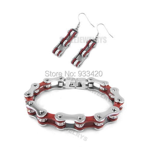 Free shipping!Bling Silver & Red Bicycle Chain Motor Earring and Bracelet Stainless Steel Jewelry Motorcycle Biker Set SJB0149L