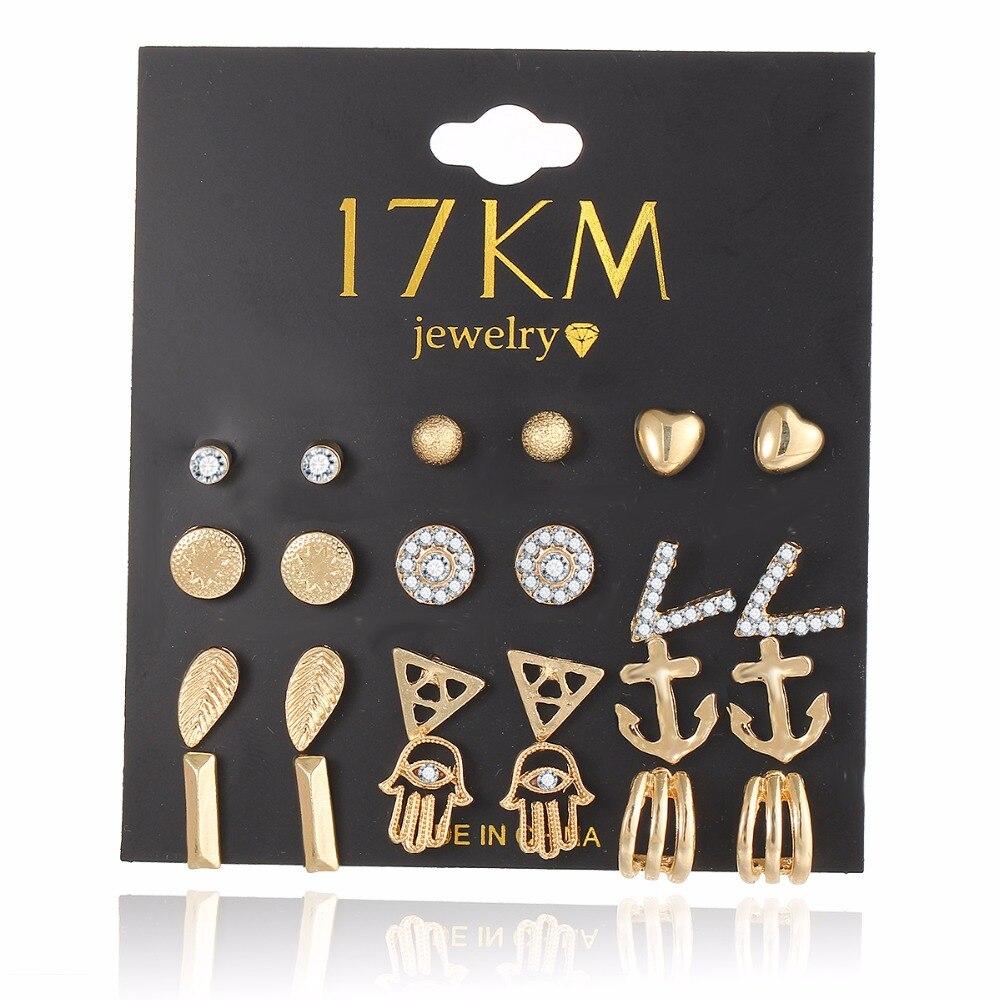 17 KM 12 Unids/set Nuevo Oro de La Manera Color Crystal Heart Stud Pendientes De