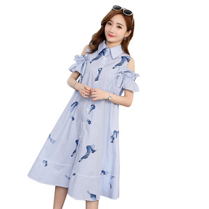 Image 2 - 2019 סטרפלס חולצה חצאית יולדות הנקת שמלות נשים בהריון בגדי הריון שמלות Vestidos הריון סיעוד