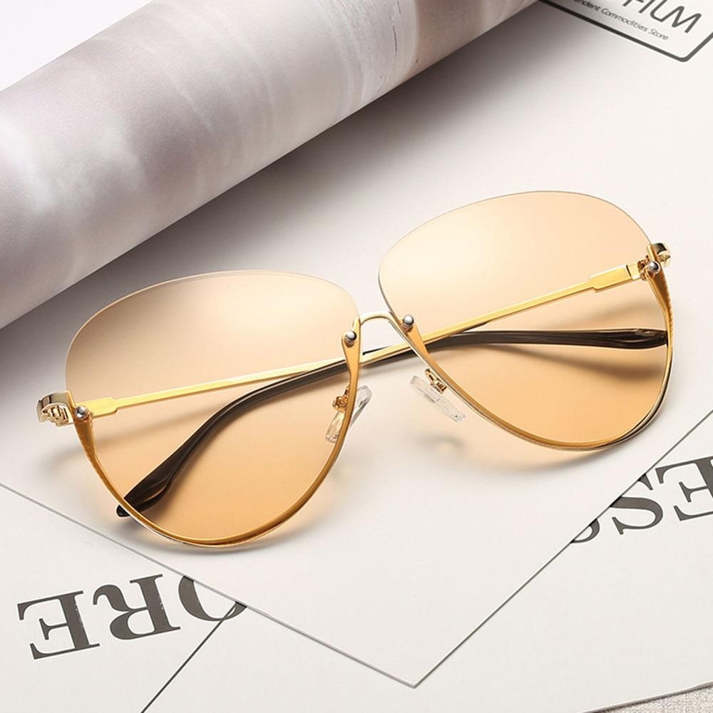 Rimless Cat Eye Women Sunglasses Transparent Fashion Brand Designer Sunglasses Lady Clearly Large Metal Frame UV400 9