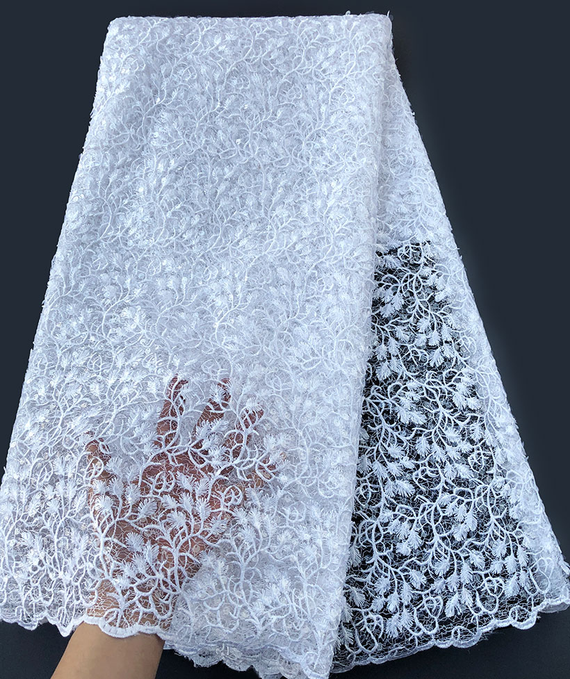 Soft pure white complicated embroidery African Guipure Lace mix shiny French lace fabric allover small sequins