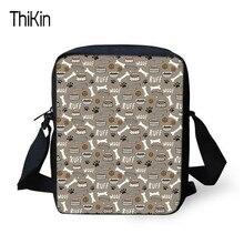 Thikin Kids Small Bag S Boys Women Casual Shoulder Bags Dog Bone Paw Print Handbags For
