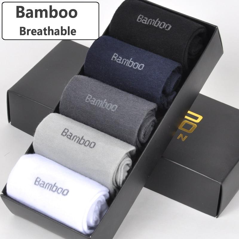 Brand New Men Bamboo Fiber   Socks   High Quality Casual Breatheable Anti-Bacterial Man Long   Sock   5pairs / lot