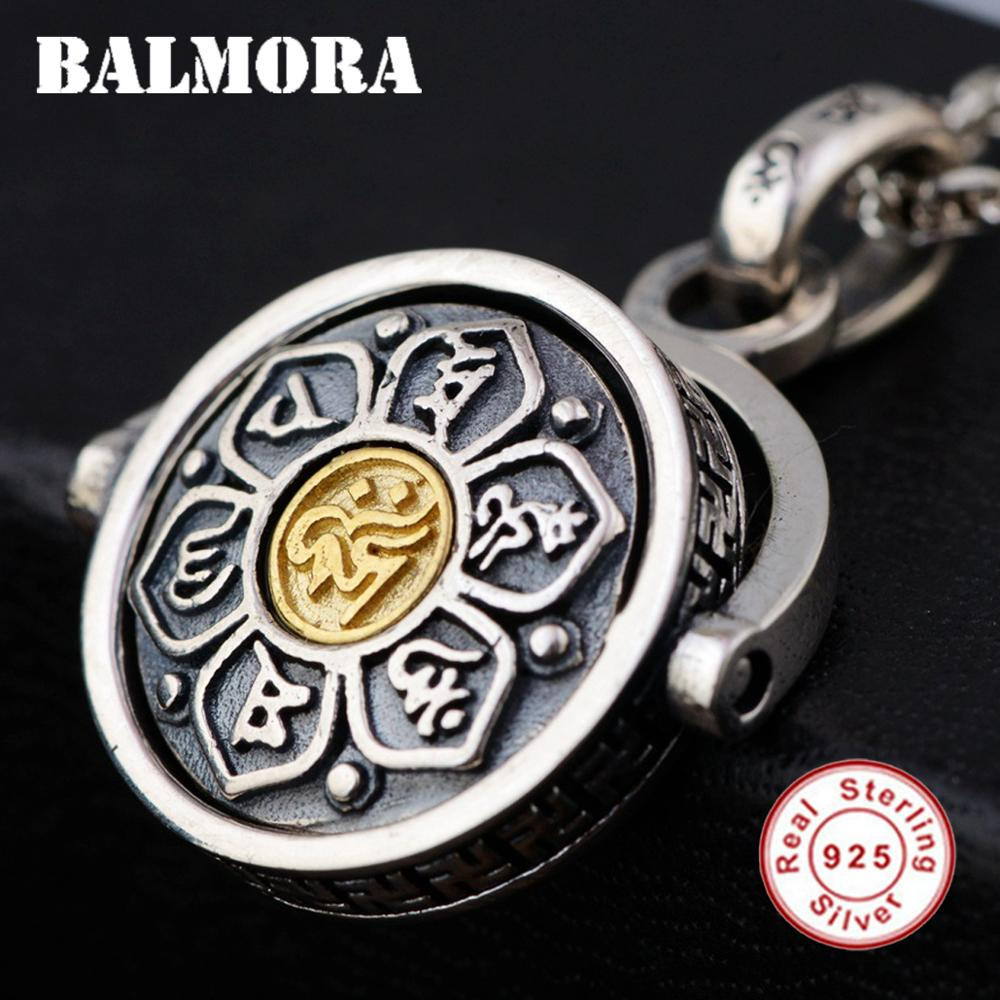 BALMORA 925 Sterling Silver 360 Rapid Rotation Buddhistic Six Words Sutra Pendants Necklace for Men Religious Jewelry SY14328\YBALMORA 925 Sterling Silver 360 Rapid Rotation Buddhistic Six Words Sutra Pendants Necklace for Men Religious Jewelry SY14328\Y