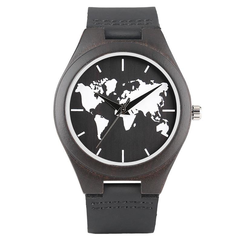 Classic Sandalwood Wristwatch Cool Black&White World Map