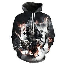 Cráneo Poker sudaderas con capucha hombres mujeres 3D Pullover Funny Rock  chándal con capucha hombre chaquetas moda invierno Out. ba500238fc2