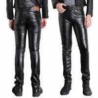 Male Black Faux Leather Pants Motorcycle Biker Ridding PU Trousers For Men Fashion Slim Fit Pencil
