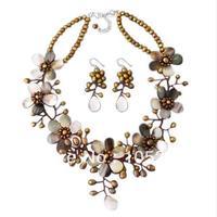 Потрясающие Природные В виде ракушки и коричневый пресноводный жемчуг цветок Цепочки и ожерелья 4 20 мм 18 ''925 стерлингов Серебряные серьги Мо