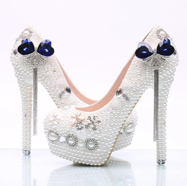 WHITE pearls wedding shoes woman, HS163 high thin heeled platforms brides pumps shoe, ladies bow diamond crystal party shoe