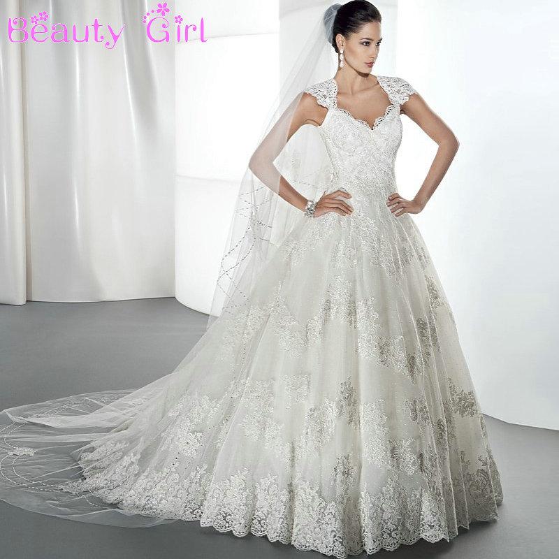 Short Sleeved Wedding Gowns: Elegant Princess Wedding Dress Short Sleeve Lace Wedding