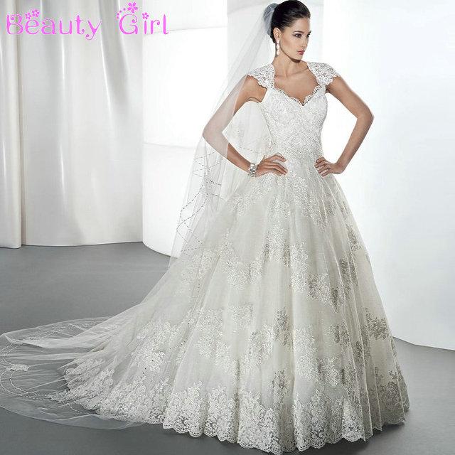 Elegant Princess Wedding Dress Short Sleeve Lace Wedding Gowns
