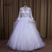 Vintage Classic Princess Wedding Dress V Neck Bow Half Sleeves Ball Gown Lace Sheer Back Bridal