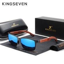 KINGSEVEN Designer Handmade Women Sunglasses Men Polarized Natural Bubinga Wooden+Aluminum Fashion Sun Glasses Square UV400