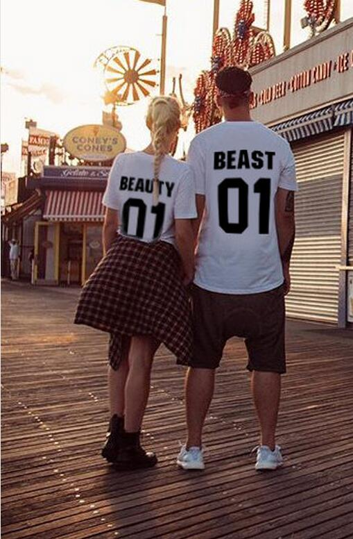 Couple T-shirt Beauty Beast 01 design fashion 100% cotton O- neck Short Sleeve Tshirt Women And Men Casual Custom numbers Print