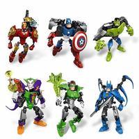 Мстители Альянс Капитан Америка Железный Человек Бэтмен Hhulk Зеленый Фонарь Джокер Собрать Модель Робот Игрушка Для Детей Игрушки