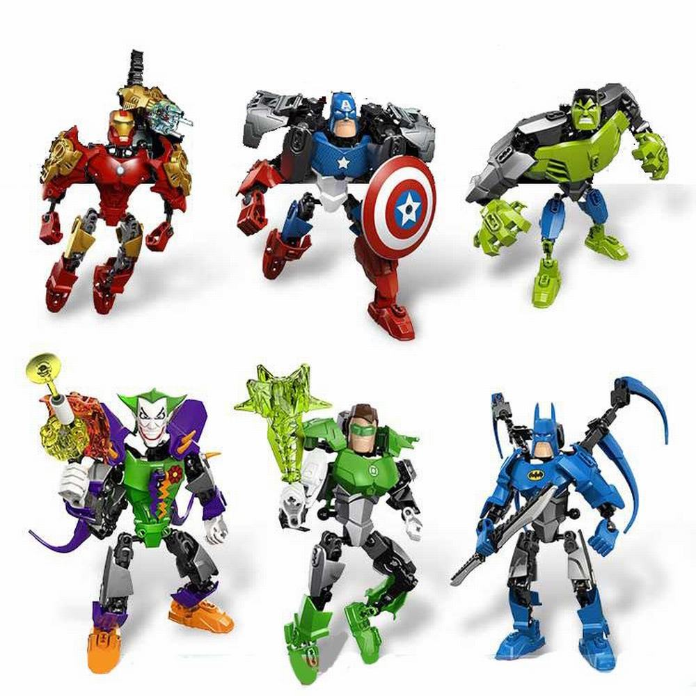 The Avengers Alliance Captain America Iron Man Batman Hhulk Green Lantern Joker Assemble Model Robot Toy For Children Toys