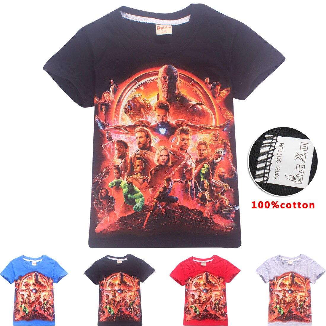 2018 Summer Avengers Infinity War Print T Shirt Boys Girls T-shirt Children Cartoon Top Tee Clothing Halloween Cosplay Costume